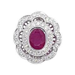 Ruby with Diamond Pendant set in 18 Karat White Gold Settings