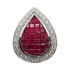 Ruby with Diamond Pendant Set in 18 Karat White Gold Settings