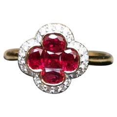Ruby with Diamond Clover Ring Set in 18 Karat Gold Settings