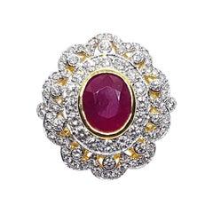 Ruby with Diamond Ring Set in 18 Karat Gold Settings