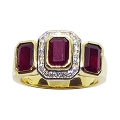 Ruby with Diamond Ring Set in 18 Karat Gold Settings