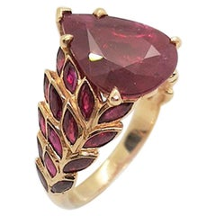 Ruby with Diamond Ring Set in 18 Karat Rose Gold Settings