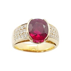 Ruby with Diamond Ring Set in 18 Karat Rose Gold Settings