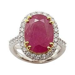 Ruby with Diamond Ring Set in 18 Karat White Gold Setting