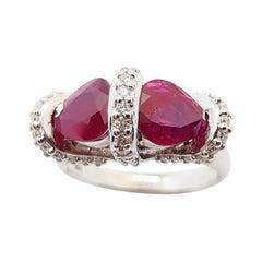 Ruby with Diamond Ring Set in 18 Karat White Gold Settings