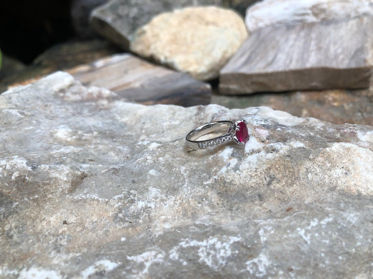 Ruby with Diamond Ring Set in Platinum 950 Settings For Sale 4