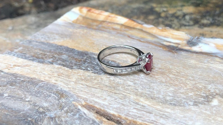 Ruby with Diamond Ring Set in Platinum 950 Settings For Sale 5
