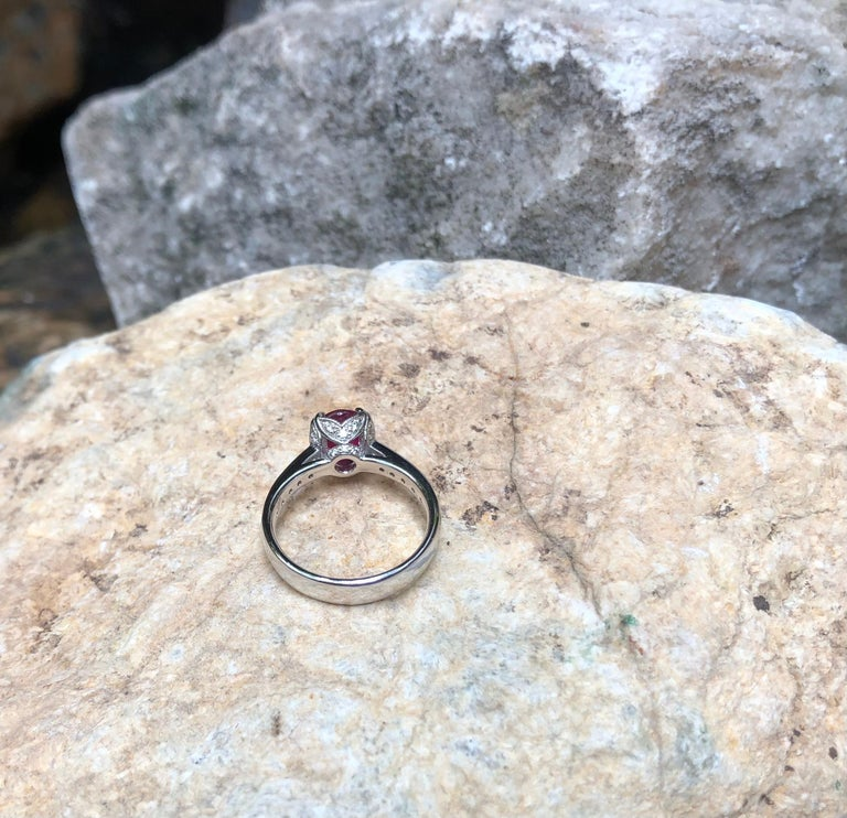 Ruby with Diamond Ring Set in Platinum 950 Settings For Sale 6