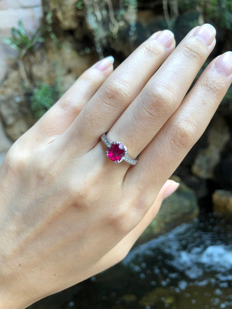Ruby 1.66 carats with Diamond 0.30 carat Ring set in Platinum 950 Settings  Width:  0.7 cm  Length: 0.8 cm Ring Size: 53 Total Weight: 6.58 grams