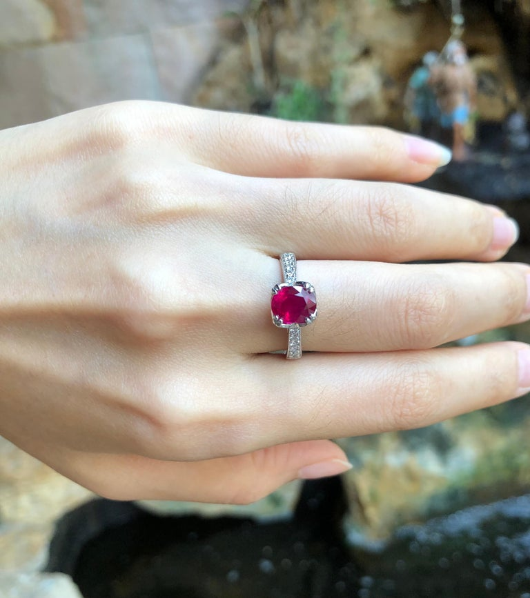 Oval Cut Ruby with Diamond Ring Set in Platinum 950 Settings For Sale