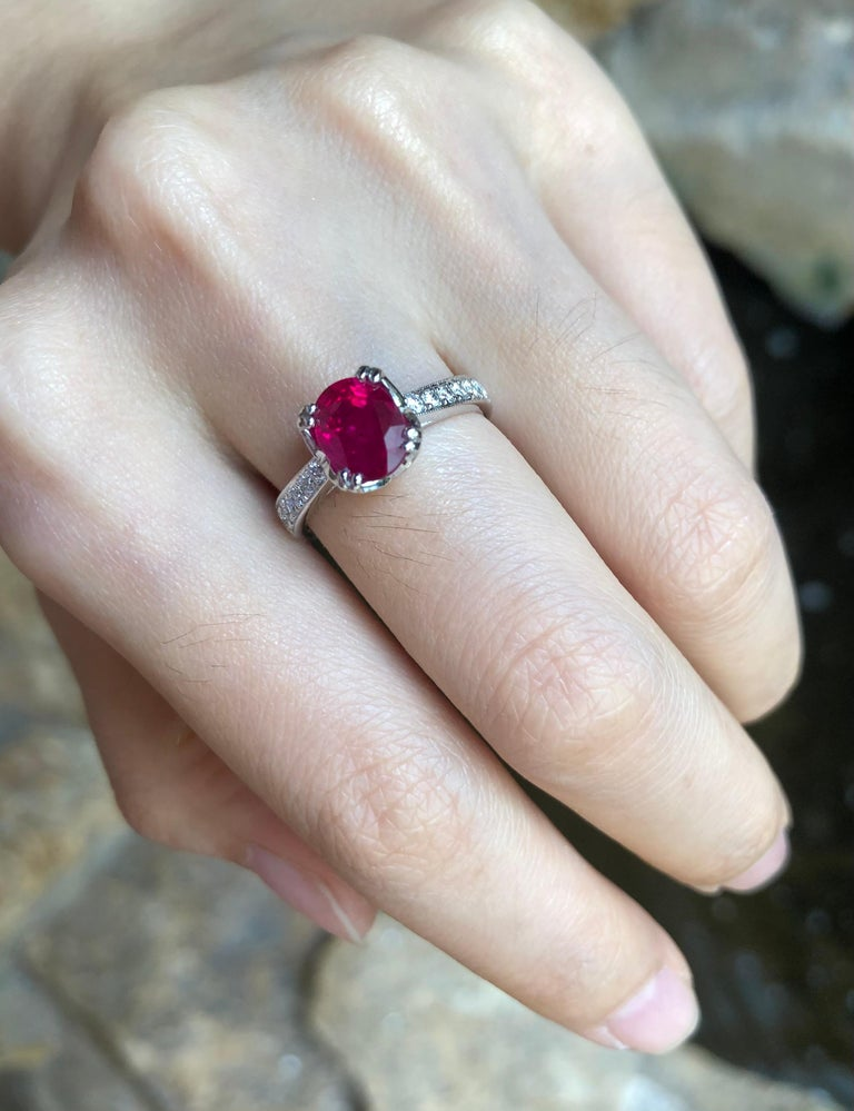 Ruby with Diamond Ring Set in Platinum 950 Settings In New Condition For Sale In Bangkok, TH