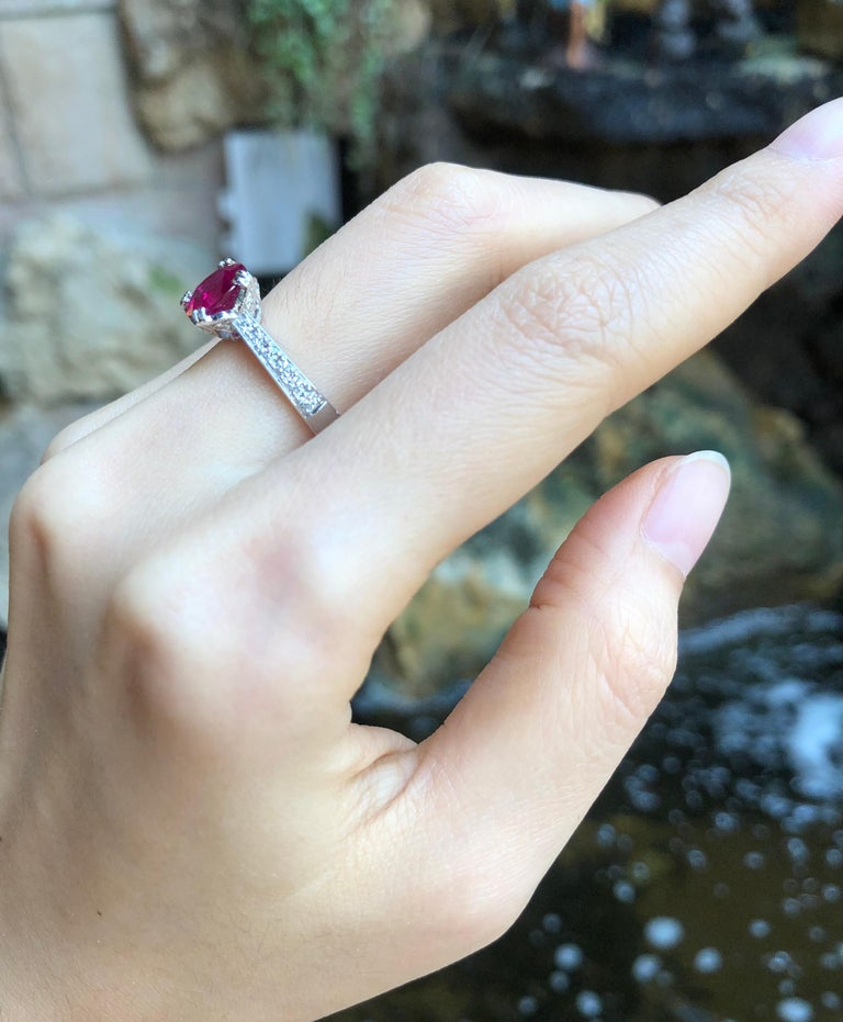 Women's Ruby with Diamond Ring Set in Platinum 950 Settings For Sale