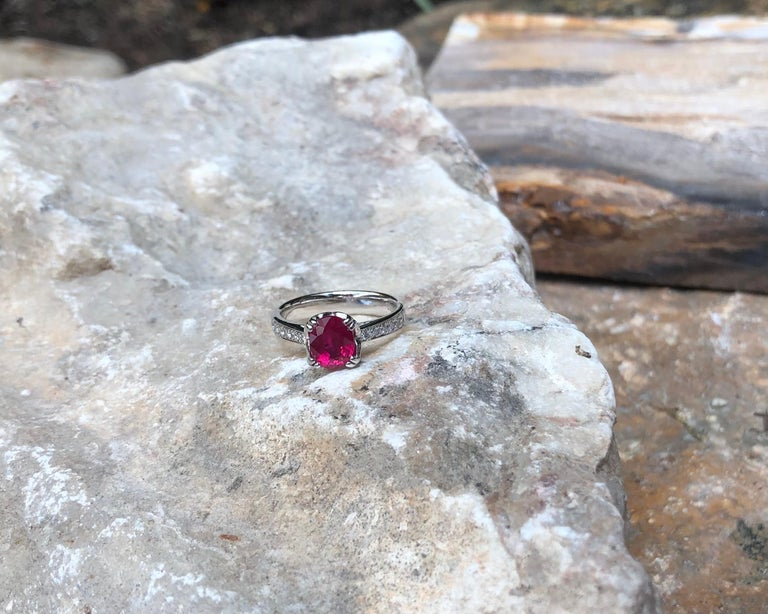 Ruby with Diamond Ring Set in Platinum 950 Settings For Sale 1