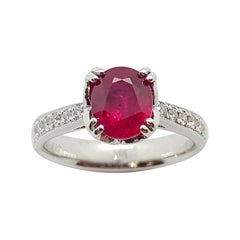 Ruby with Diamond Ring Set in Platinum 950 Settings