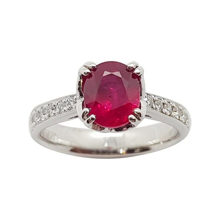Ruby with Diamond Ring Set in Platinum 950 Settings For Sale