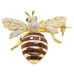 Ruby with Emerald and Diamond Bee Brooch Set in 18 Karat Gold Settings