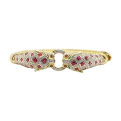 Ruby with Emerald and Diamond Panther Bangle Set in 18 Karat Gold Settings