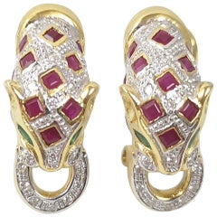 Ruby with Emerald and Diamond Panther Earrings Set in 18 Karat Gold Settings