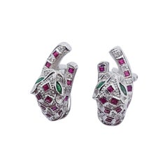 Ruby with Emerald and Diamond Panther Earrings Set in 18k White Gold Settings