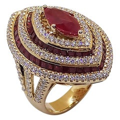 Ruby with Ruby and Diamond Ring Set in 18 Karat Rose Gold Settings
