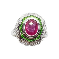 Ruby with Tsavorite and Diamond Ring Set in 18 Karat White Gold Settings