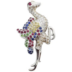 Ruby, Yellow and Blue Sapphire, Tsavorite Ostrich Brooch in 18 Karat White Gold
