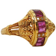 Ruby Yellow Gold Filigree Ring
