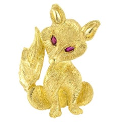 Ruby Yellow Gold Fox Brooch