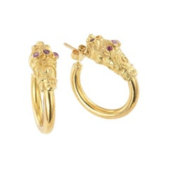 Ruby Yellow Gold Lion Head Hoop Earrings