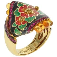 Ruby Yellow Sapphire Enamel A'la Russe Small Ring