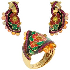 Ruby Yellow Sapphire Enamel A'la Russe Small Suite