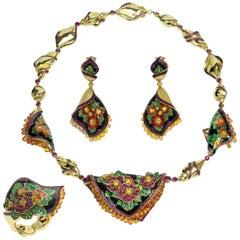 Ruby Yellow Sapphire Tsavorite Enamel A'la Russe Ring Earring Necklace Suite