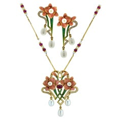 Ruby, Enamel, Pearl and Diamond 18 Karat Pendant and Earrings Set