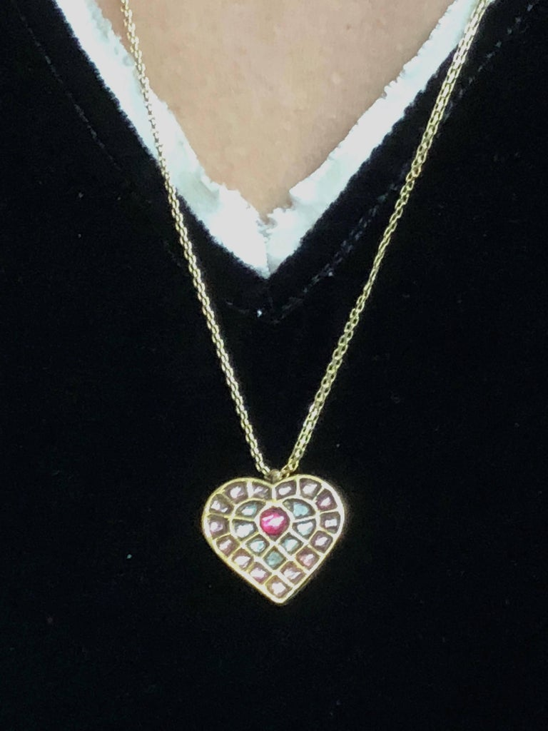 Women's Ruby, Sapphire and Pink Tourmaline 22K Gold Long Necklace For Sale
