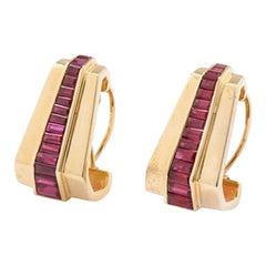Ruby Earrings 15 Rubies Each, 18 Karat Gold Red