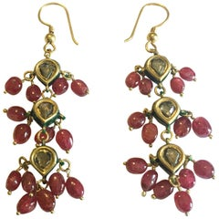 Ruby, Gold and Diamond Kundan Dangle Earrings
