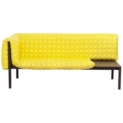 Ruché Yellow Leather Sofa by Inga Sempé for Ligne Roset, 2010