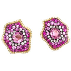 Ruchi New York Abstract Pink Sapphire, Ruby and Diamond Earrings