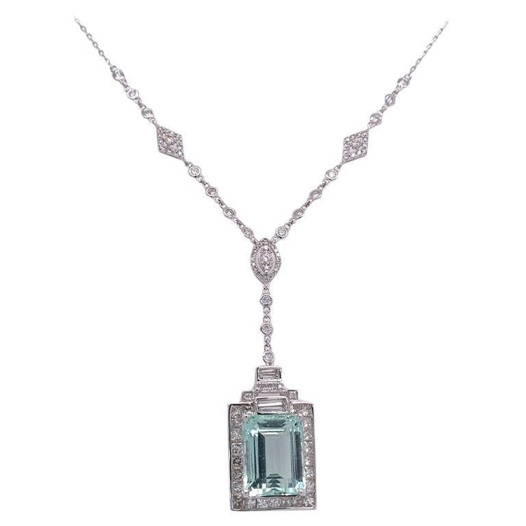 Ruchi New York Aquamarine and Diamond Art Deco Style Necklace