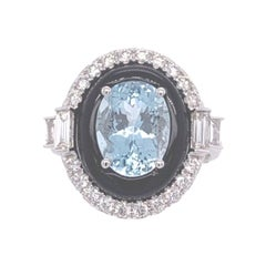 Ruchi New York Aquamarine, Black Agate, and Diamond Cocktail Ring