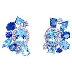 Ruchi New York Aquamarine, Blue Sapphire and Diamond Earrings