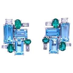 Ruchi New York Aquamarine, Emerald and Diamond Earrings