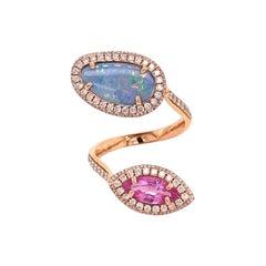 Ruchi New York Australian Opal, Pink Sapphire and Diamond Cocktail Ring