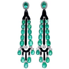 Ruchi New York Black Agate, Emerald and Diamond Drop Earrings