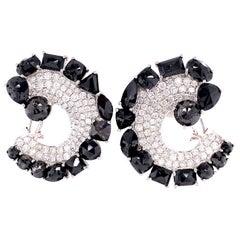 Ruchi New York Black and White Diamond C Shape Clip-On Earrings