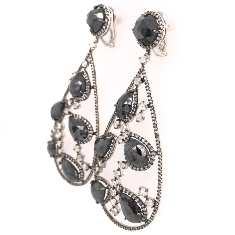 Contemporary Black Diamond and Rose Cut White Diamond Chandelier Earrings For Sale