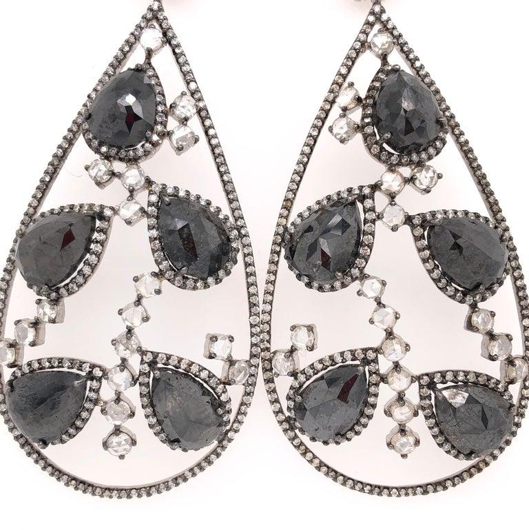 Pear Cut Black Diamond and Rose Cut White Diamond Chandelier Earrings For Sale