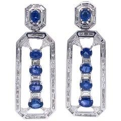 Ruchi New York Blue Sapphire and Diamond Art Deco Style Earrings
