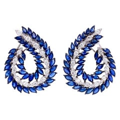 Ruchi New York Blue Sapphire and Diamond C Shape Earrings