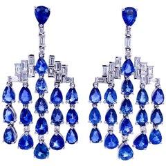 Ruchi New York Blue Sapphire and Diamond Chandelier Earrings